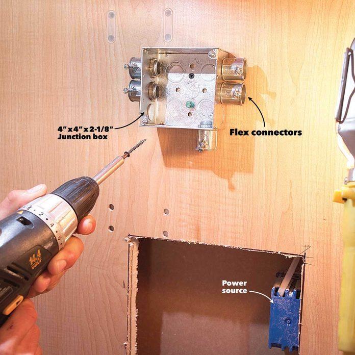under cabinet lighting junction box