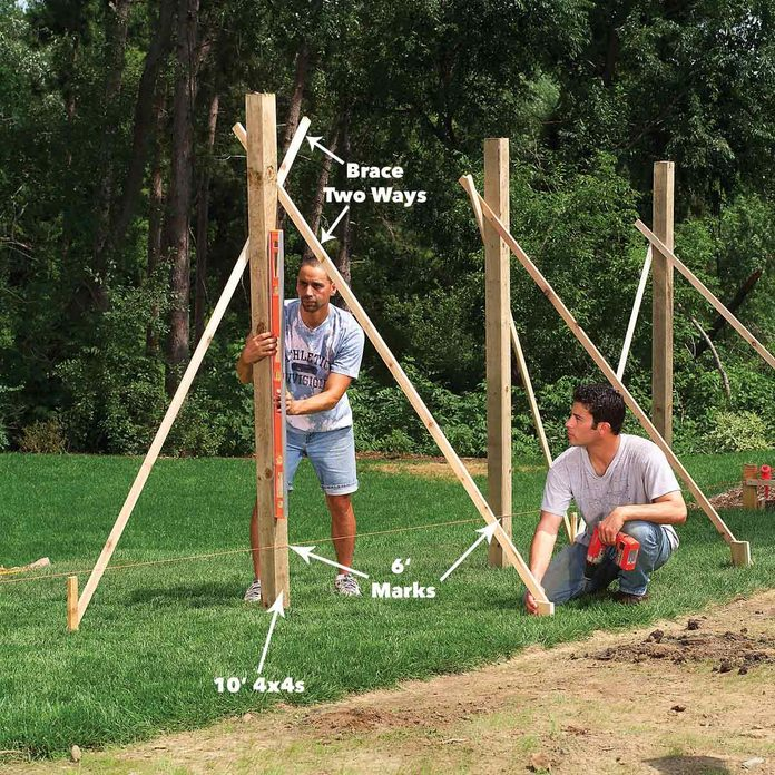 plumb and brace fence posts