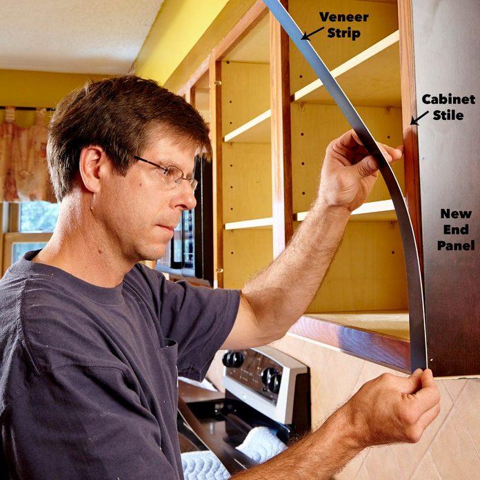 apply veneer to cabinet door refacing
