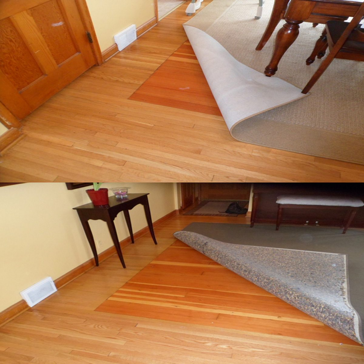 Different colored flooring hidden under a rug   Construction Pro Tips