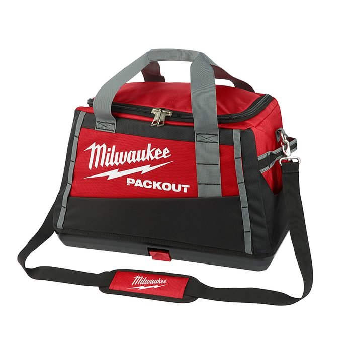 A red toolbag designed for the Milwaukee Packout System | Construction Pro Tips