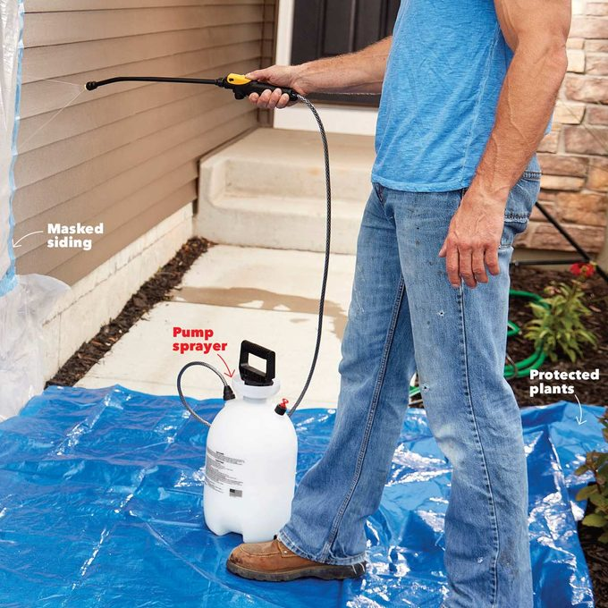 protect trim and plants when sealing exterior stone work