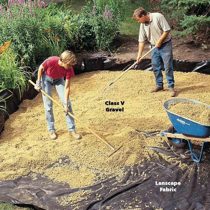 Spread landscape fabric and gravel