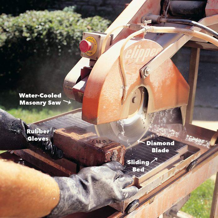 cut bricks with masonry saw