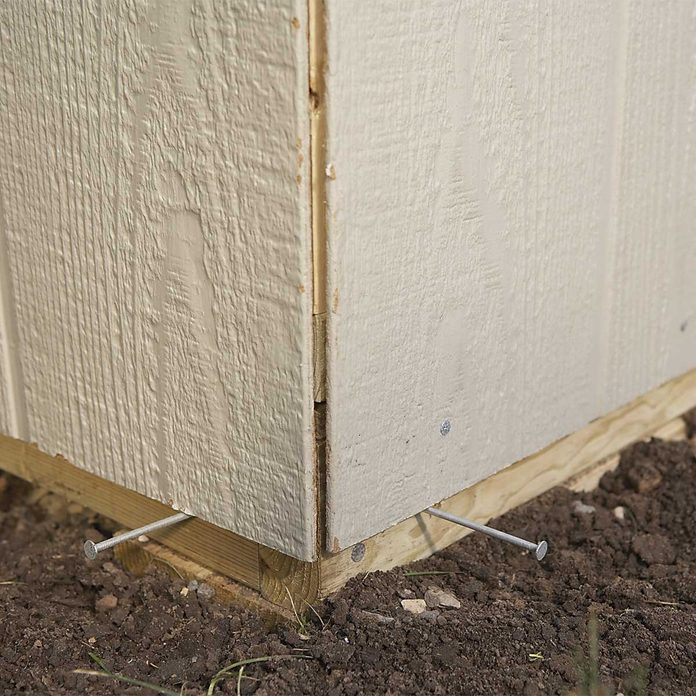 outdoor storage shed construction - panel corner