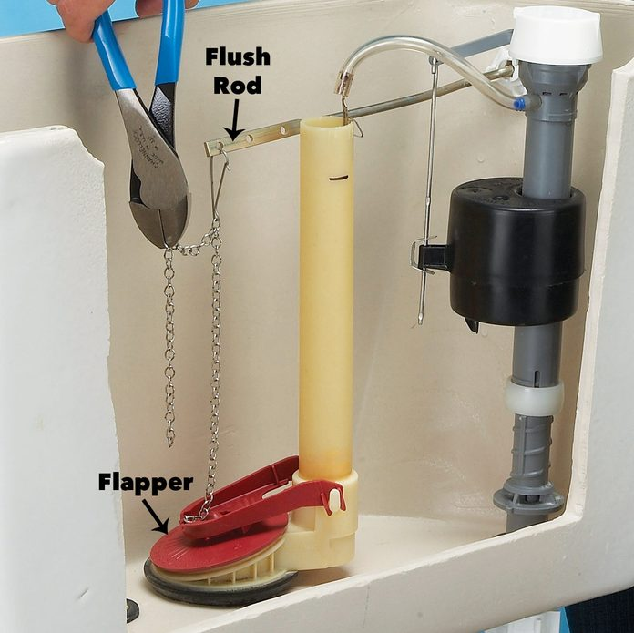 Adjust the Flush Handle/Flapper Chain in toilet diagram