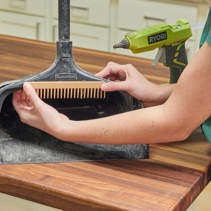 HH handy hint wide tooth comb dustpan broom hack