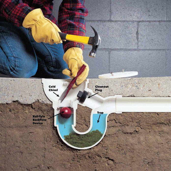 Clear a floor drain trap