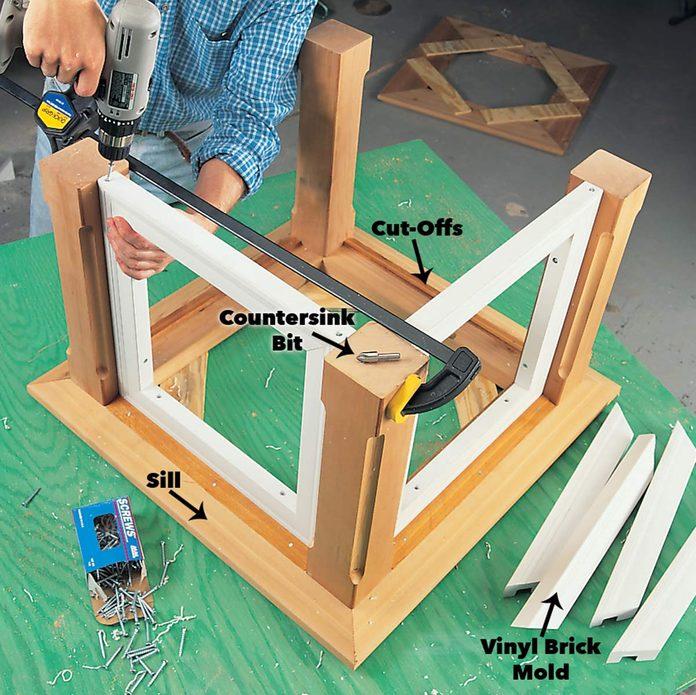 Attach the brick mold frames cupola