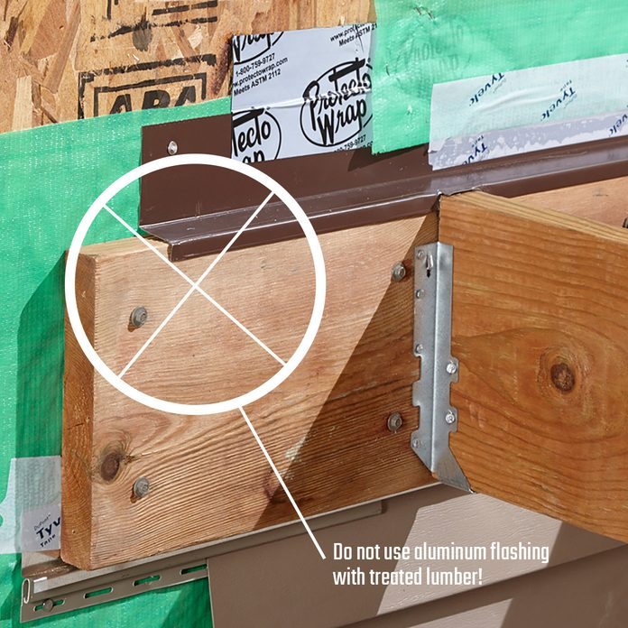 Ledger board covered by metal flashing   Construction Pro Tips