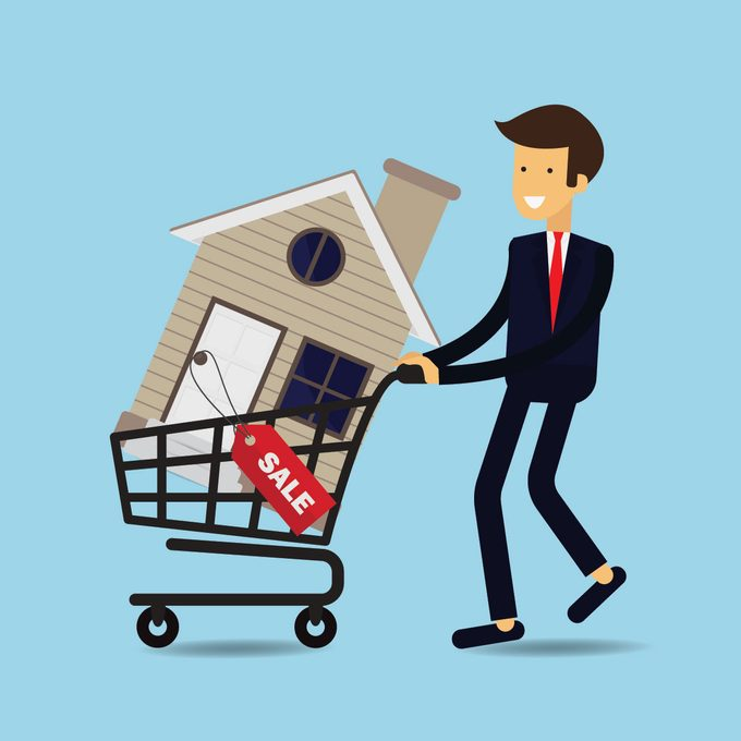 Illustration of a man pushing a grocery cart with a house inside it   Construction Pro Tips