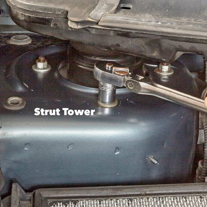 Remove the strut mount nuts