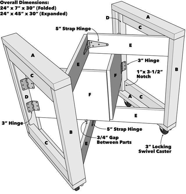 Folding Mobile Workbench