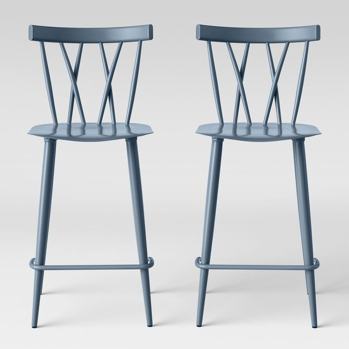 Metal X Back Counter Height Barstools