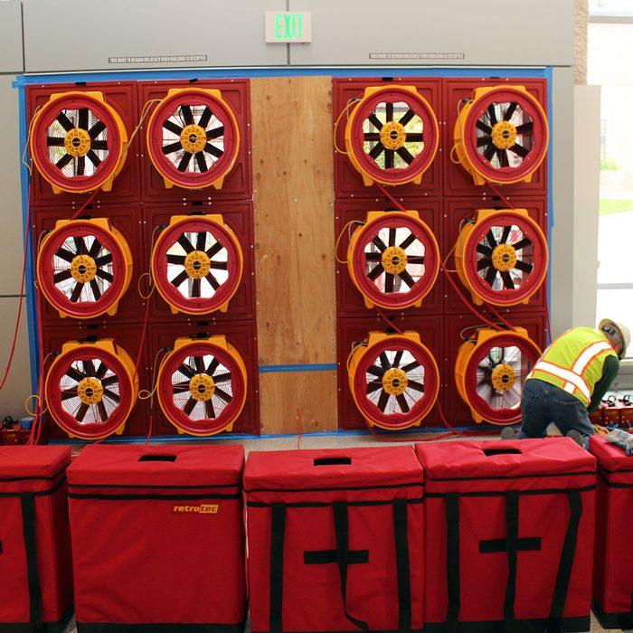 A giant blower door test set up | Construction Pro Tips