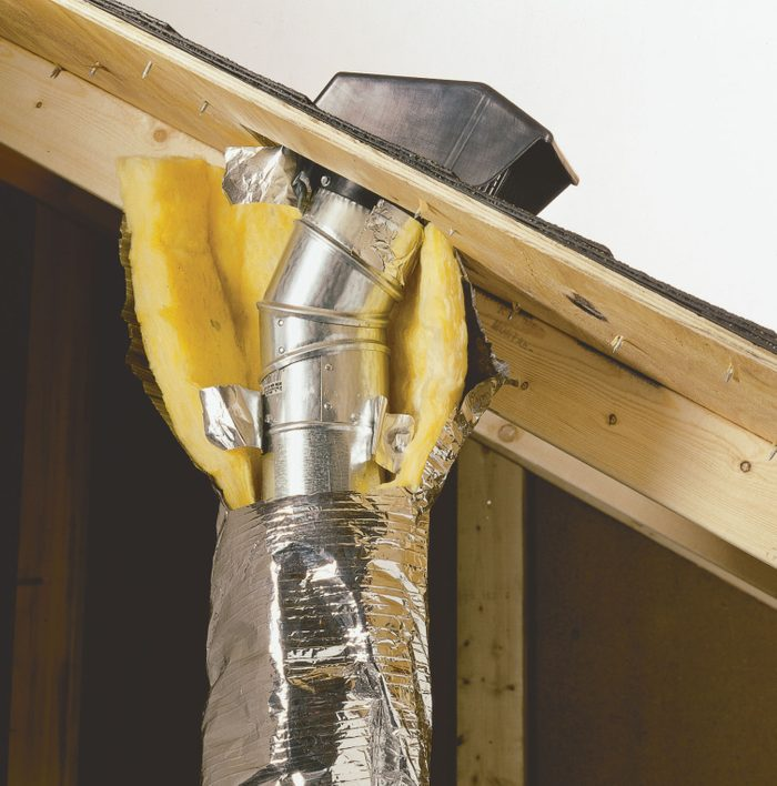 Vent duct properly routed through a roof   Construction Pro Tips