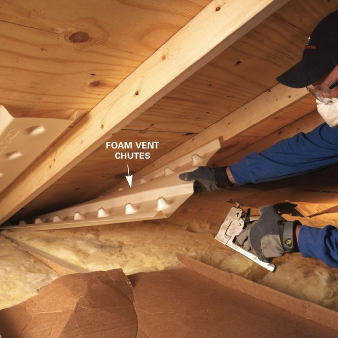 Blown in insulation: install vent chutes