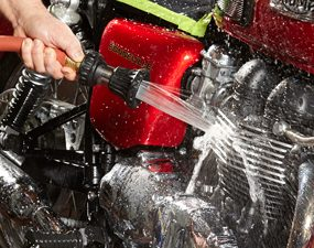 How to Clean a Motorcycle Rinse it Off