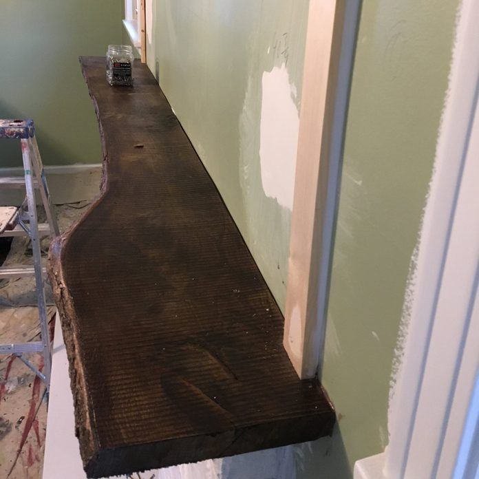 live edge fireplace mantle