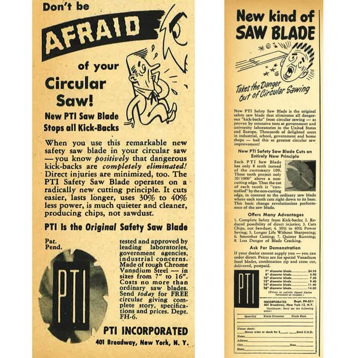 """Vintage ad for a circular saw blade that """"stopped all kickbacks""""   Construction Pro Tips"""