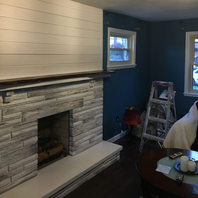 painted-trim fireplace makeover