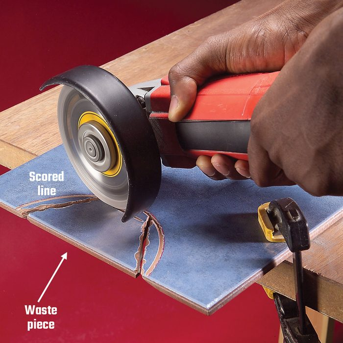 Cutting off the extra tile when starting a semi-circular cut   Construction Pro Tips
