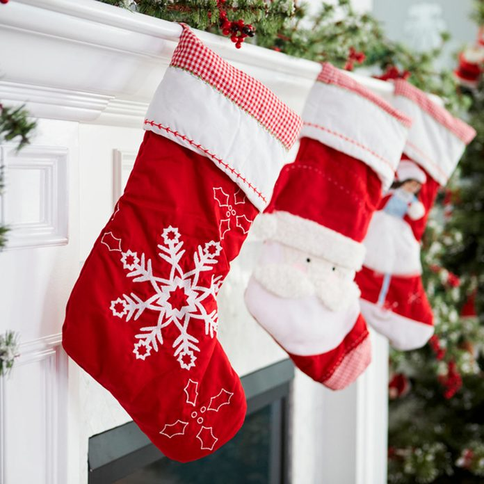 Christmas stockings on a fireplace mantle