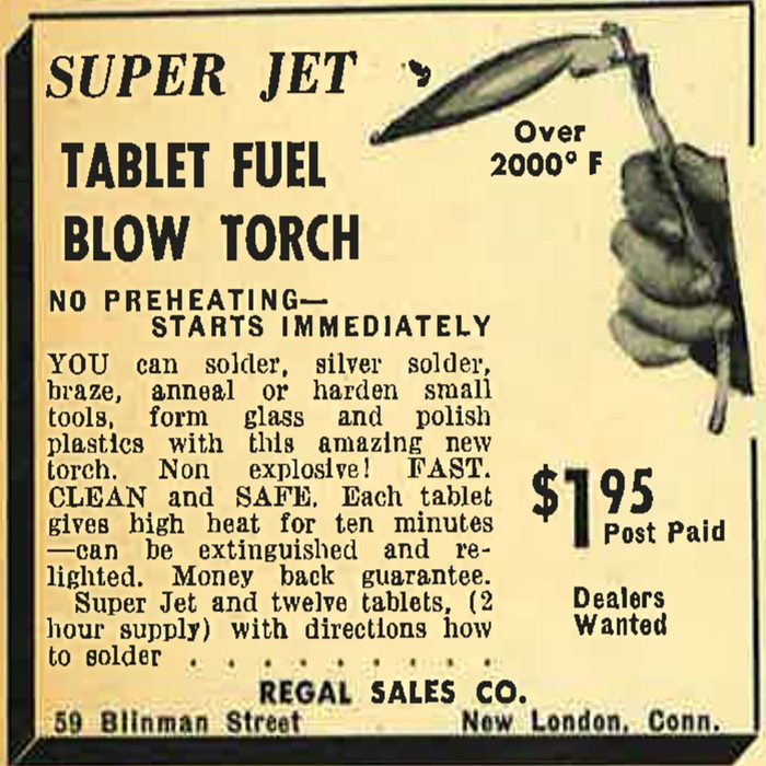 A vintage ad for a Super Jet Tablet Fuel Blow Torch | Construction Pro Tips