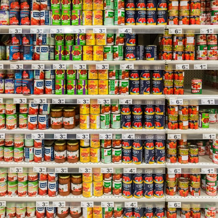 Canned Food On Supermarket Stand.