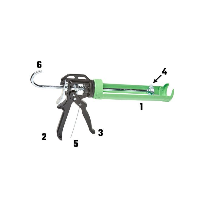 Caulking gun with labeled parts | Construction Pro Tips