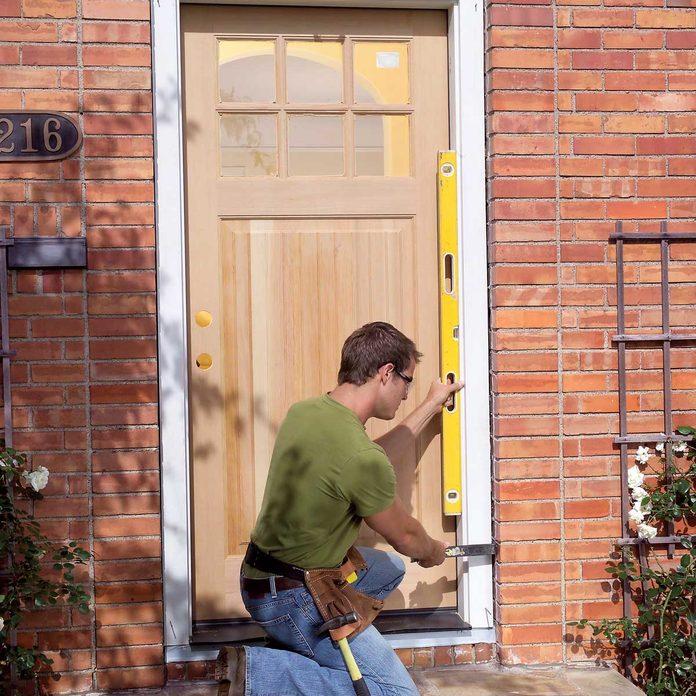 Tack in the prehung exterior door