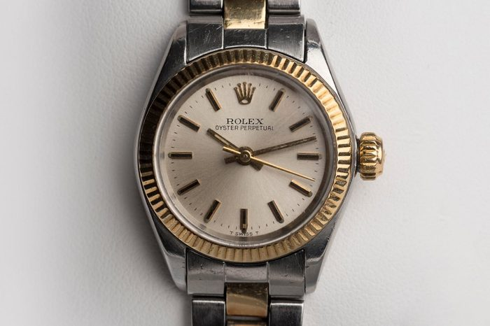 BOLOGNA, ITALY - MARCH 7, 2018: Rolex Oyster Perpetual vintage woman watch. Rolex SA is a Swiss luxury watchmaker, founded in London