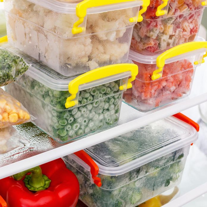 Frozen food in the refrigerator. Vegetables on the freezer shelves. Stocks of meal for the winter.; Shutterstock ID 522663619