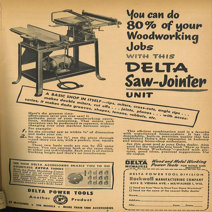 An ad for a Delta saw-jointer   Construction Pro Tips