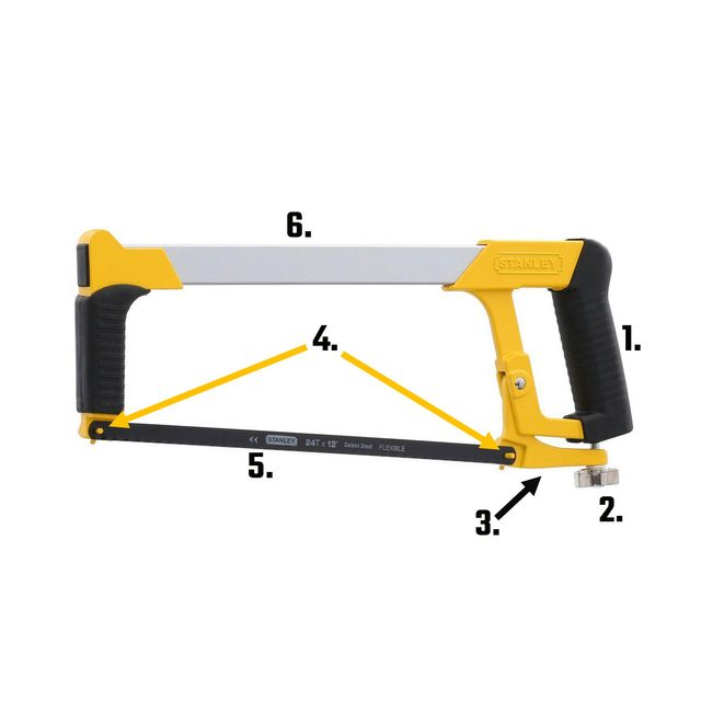A hacksaw with all of its parts labeled | Construction Pro Tips