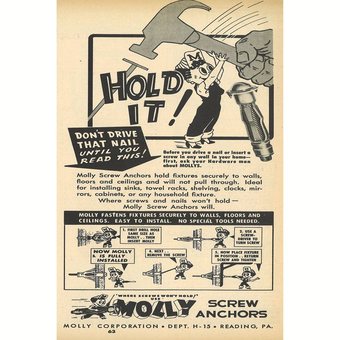 An ad for Molly Screw Anchors   Construction Pro Tips