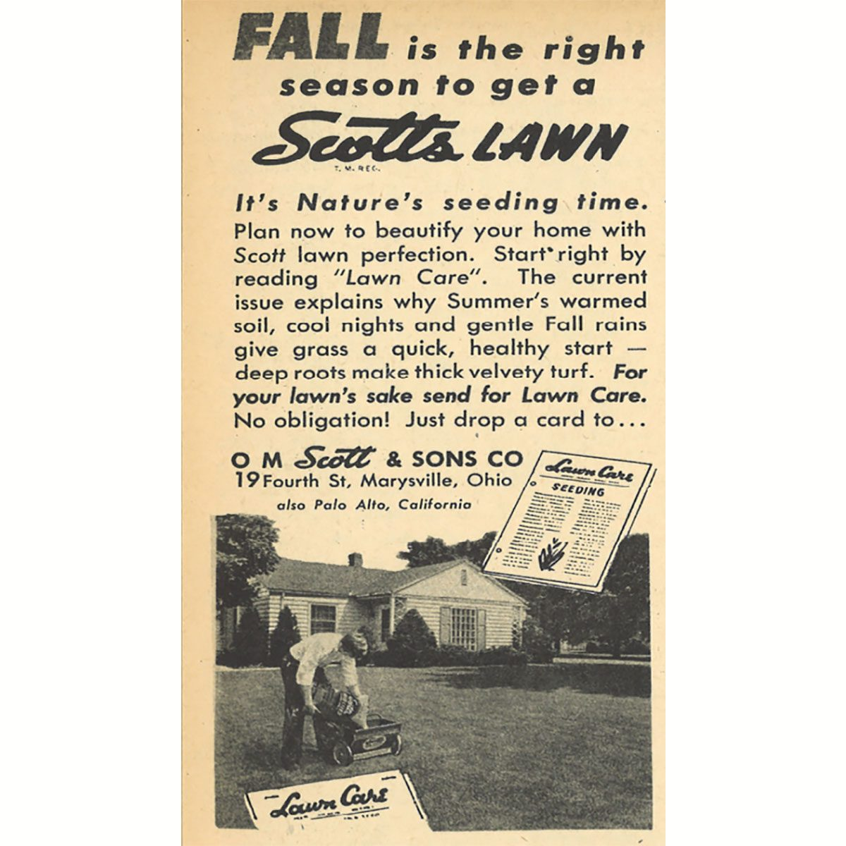 An ad for Scotts Lawn care seeds   Construction Pro Tips