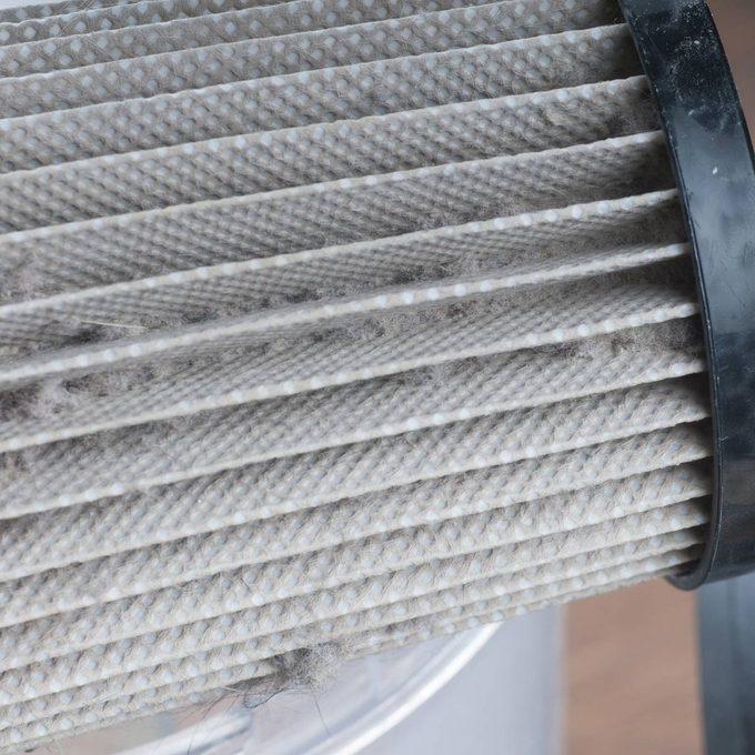 Dirty filter cyclonic vacuum cleaner. HEPA filter