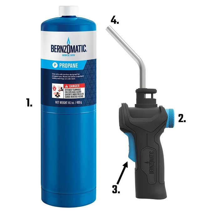 Propane gas torch with labeled parts | Construction Pro Tips