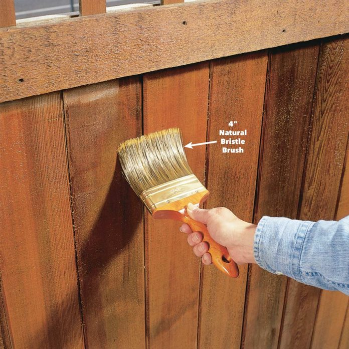 brush out fence stain