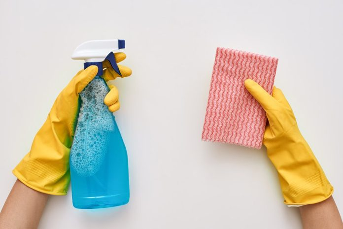 Keep cleaning. Glass cleaner and cloth in human hands