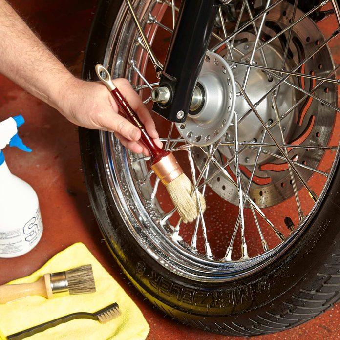 clean motorcycle wheel