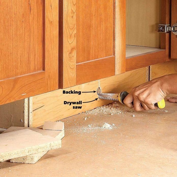 under cabinet drawer remove toe kick
