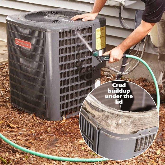 clean condenser coils on air conditioner