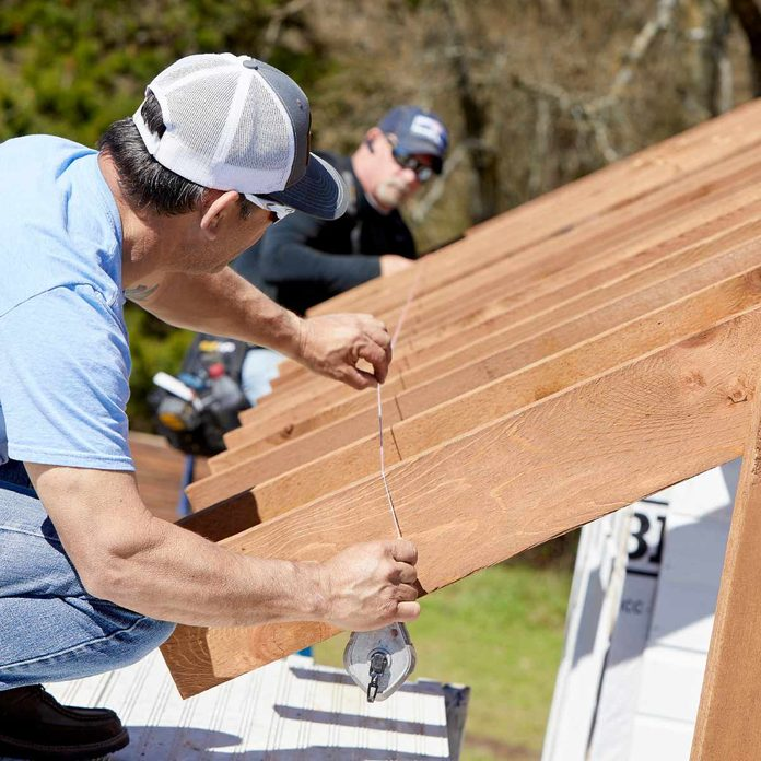 kitchen pavilion shed mark and cut the rafter tails