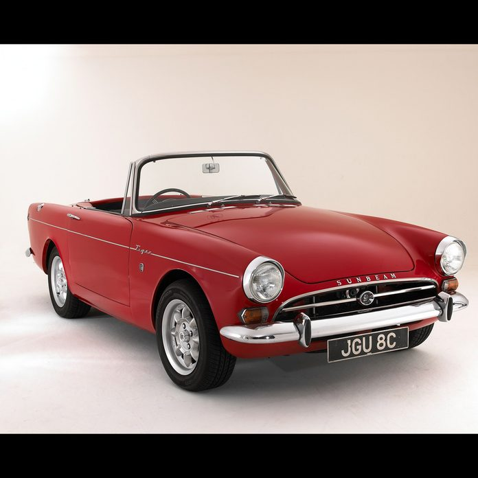 """1965 Sunbeam Tiger Alpine 260 used in the TV show """"Get Smart"""" sits in a studio"""