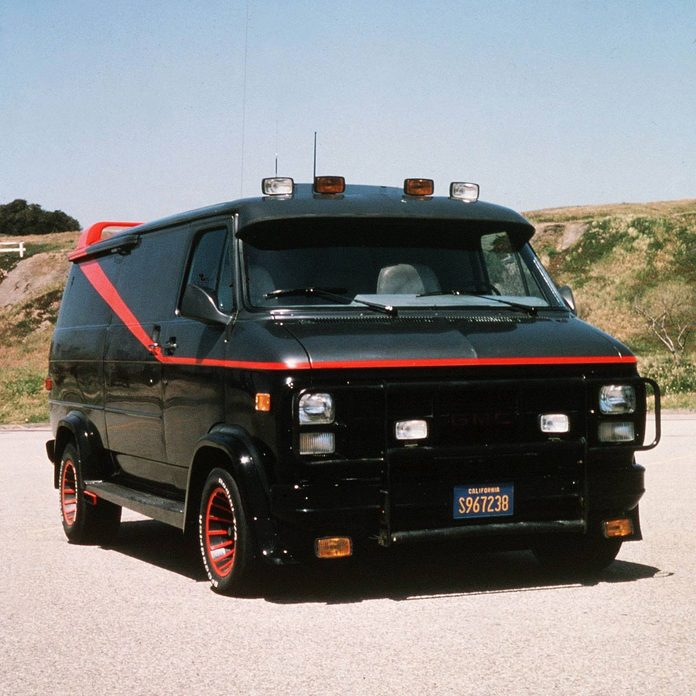 """Black van with red stripe used in the TV show """"The A Team"""""""