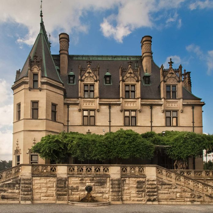 Biltmore estate with towers and architecture details. Gilded age of american history. French Renaissance chateau.