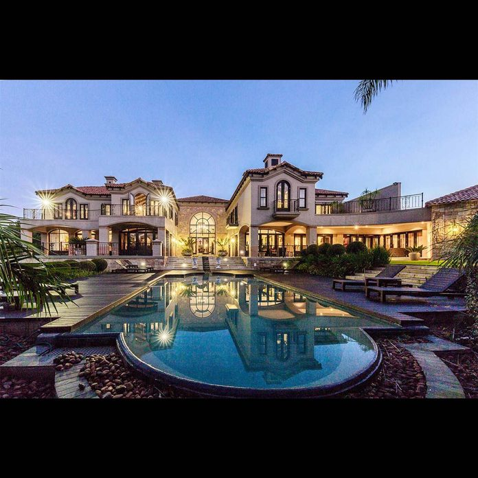 South Africa mansion with pool in a Spanish villa style