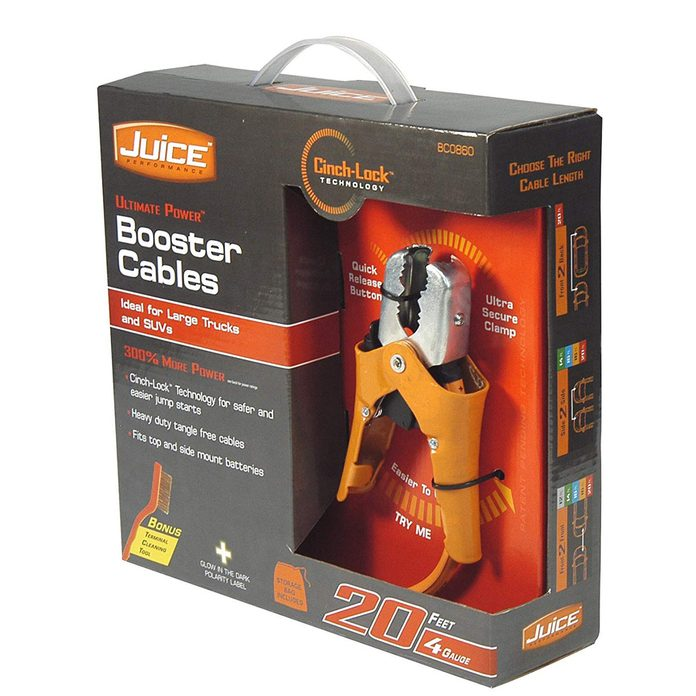 Car jumper cables that cinch onto battery terminals